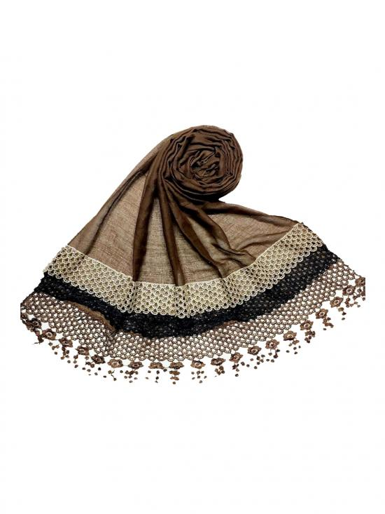 Premium Cotton Three Liner Bordered Stole in Brown