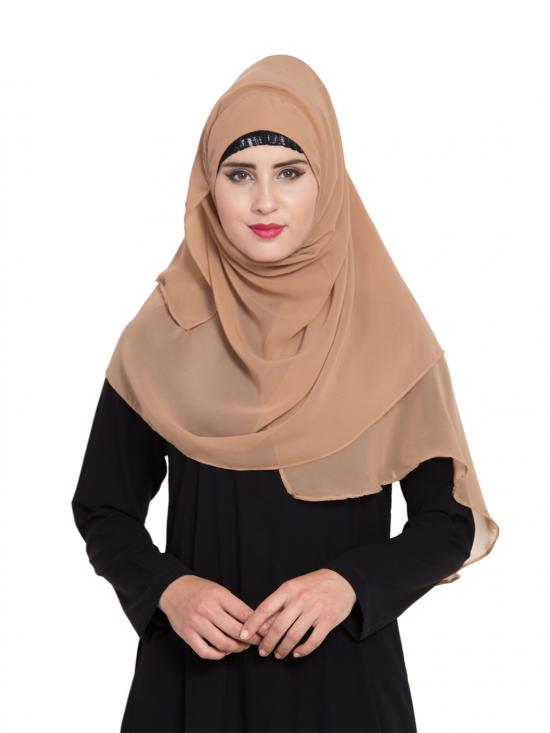 Super Fine Georgette Ready To Wear Instant Hijabs In Beige