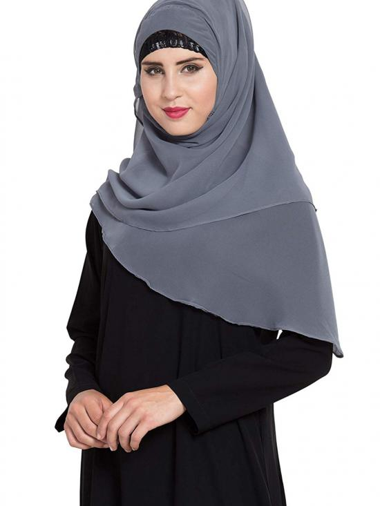 Super Fine Georgette  Ready to Wear Instant Hijabs In Grey