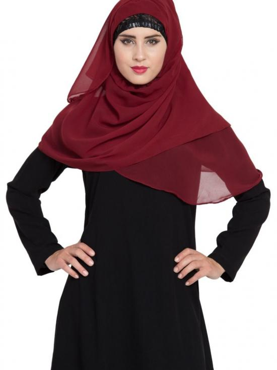 Super Fine Georgette Ready To Wear Instant Hijabs In Maroon