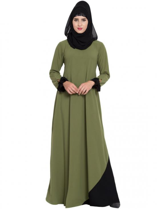 Mushkiya Nidamatte New Design Abaya with Designer Sleeves In Henna Green