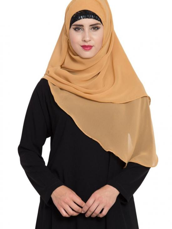 Super Fine Georgette Ready To Wear Instant Hijabs In Sand