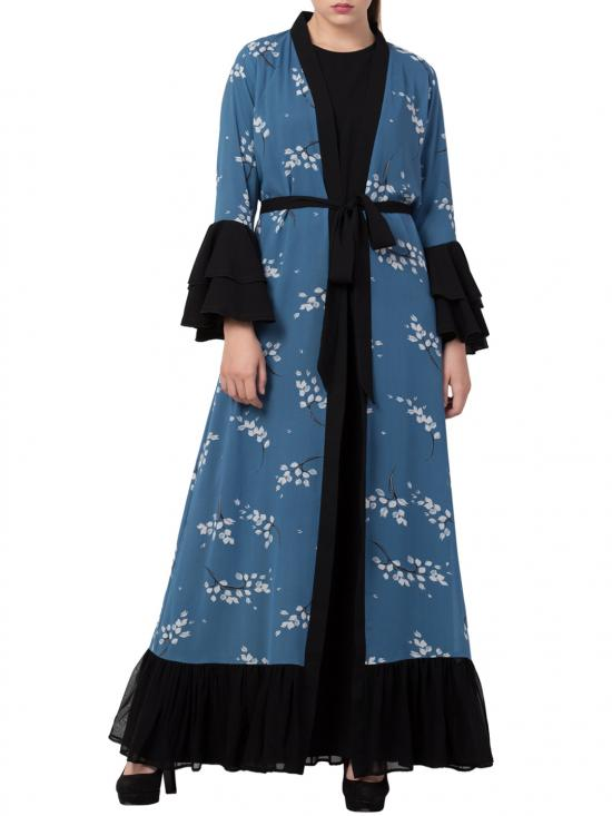 Mushkiya Nida Matte Abaya and Stylish Cardigan Combo in French Blue and Black