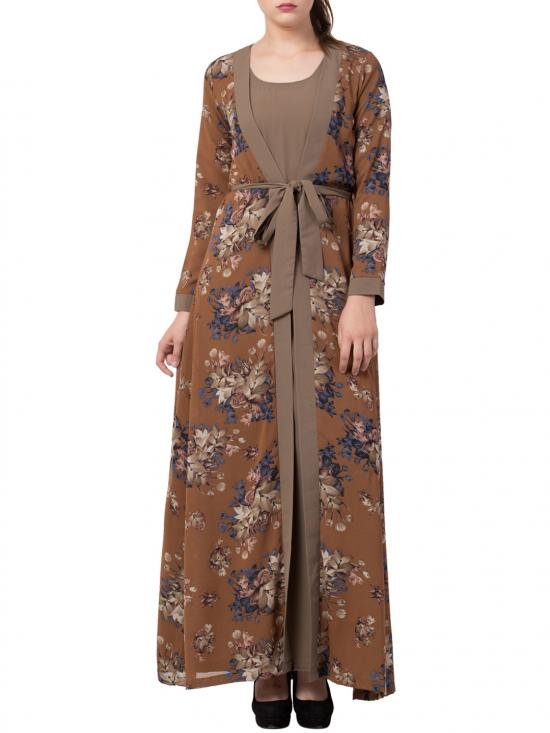 Nida Matte Abaya With Attached Shrug And A Matching Belt In Oat And Multi Colour