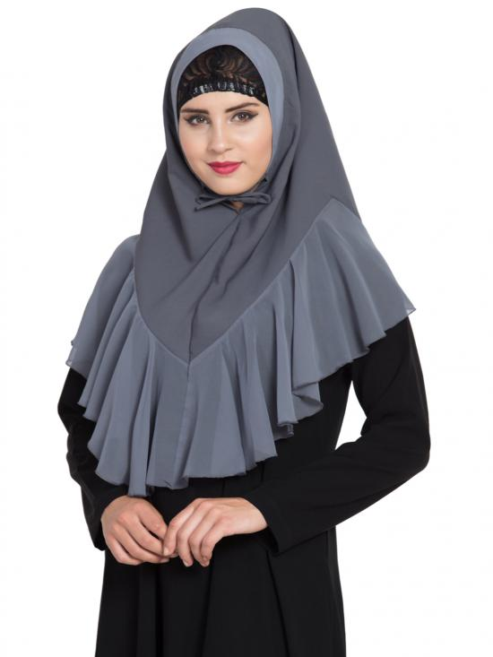 Khimar Nida Matte Ready To Wear Instant Hijabs In Grey
