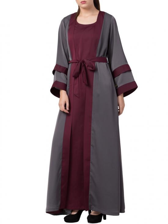 Premium Nida Abaya With Attached Shrug and a Matching Belt Made in Grey and Burgundy