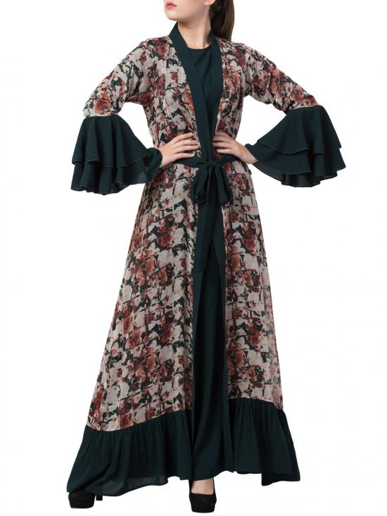 Nida Matte Abaya And Stylish Cardigan Combo In Green And Multi