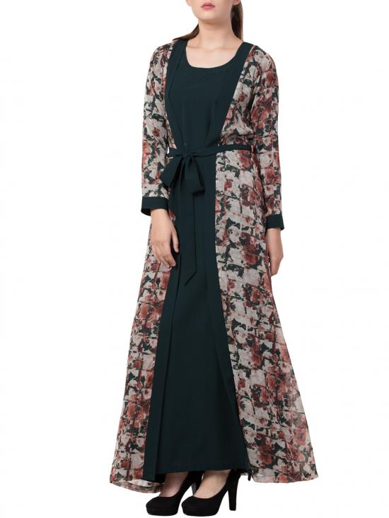 Nida Matte Abaya With Attached Shrug and a Matching Belt in Green and Multi