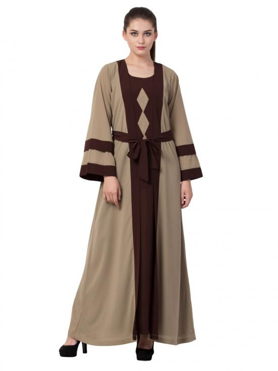 Premium Nida Abaya With Attached Shrug And A Matching Belt In Oat And Brown