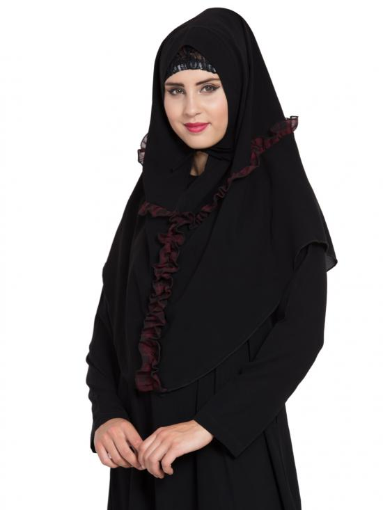 Khimar Nida Matte Ready To Wear Instant Hijabs In Black & Maroon