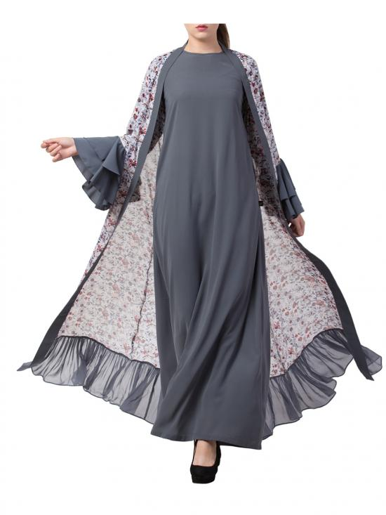 Nida Matte Abaya and Stylish Cardigan Combo in Grey and Multi
