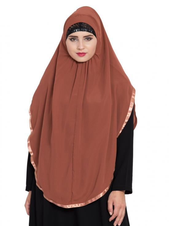 Khimar Nida Matte Ready To Wear Instant Hijabs In  Rust