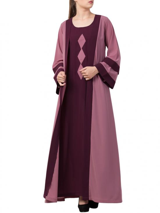 Premium Nida Abaya With Attached Shrug and a Matching Belt in Puce Pink and Wine