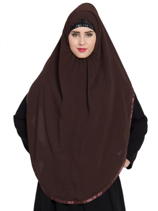 Khimar Nida Matte Ready To Wear Instant Hijabs In Brown