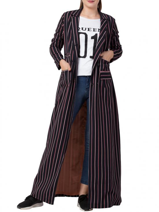 Mushkiya Heather Moss Long Full Length Coat with Stripes in Blue
