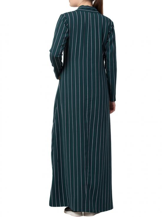 Heather Moss Long Full Length Coat with Stripes in Green