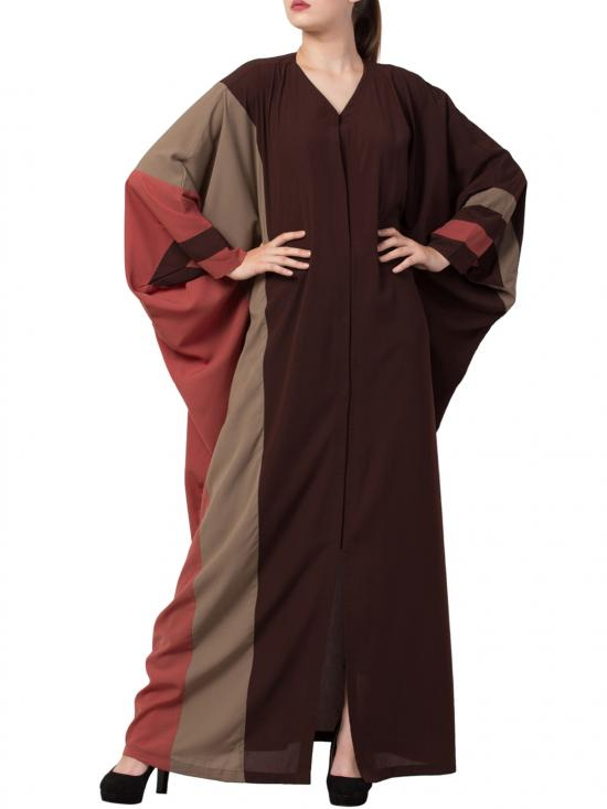 Nida Matte Front Open Designer Kaftan in Brown and Multi Colour