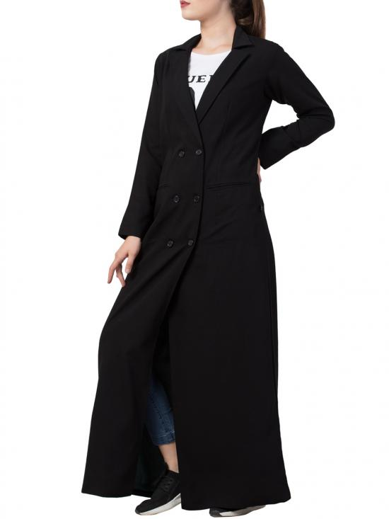 Poly Moss Double Breasted Coat in Full Length with Front Pockets in Black