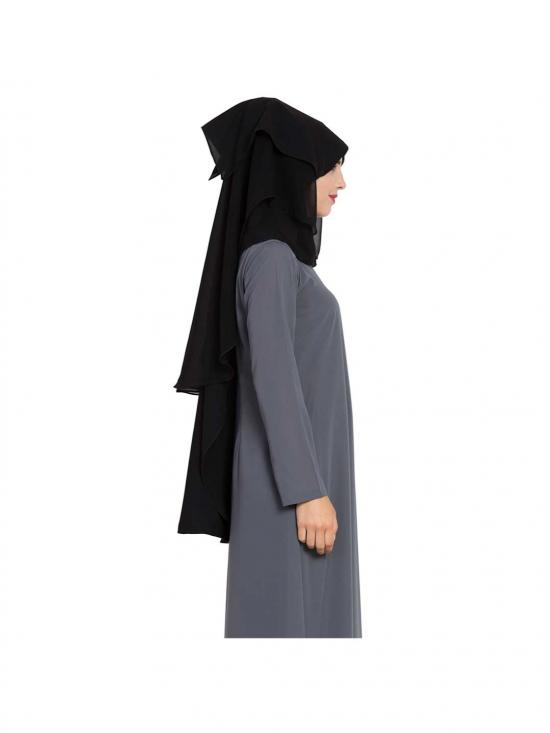 Nida Matte Naqab and Mouth Piece Hijab WithThree Layers in Black
