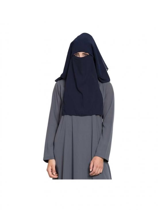 Nida Matte Naqab and Mouth Piece Hijab WithThree Layers in Navy Blue