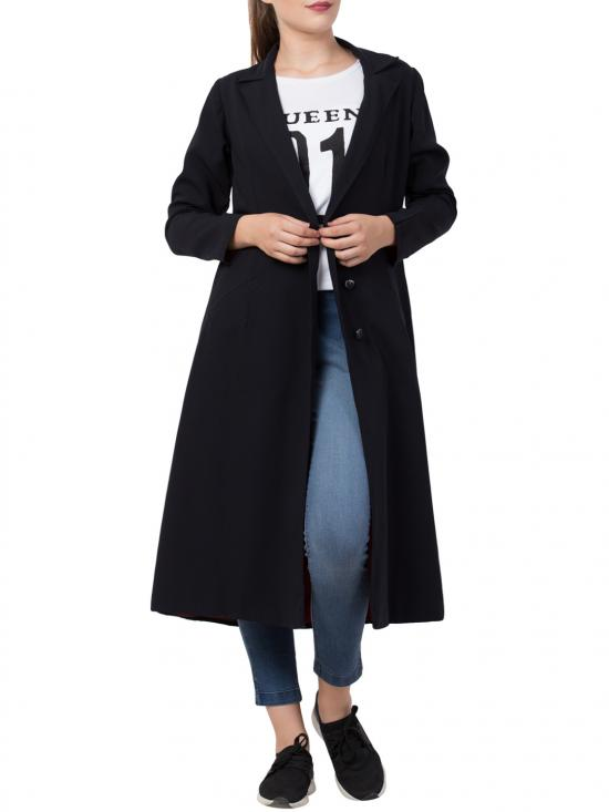 Poly Moss Knee Length Coat For Abaya In Black