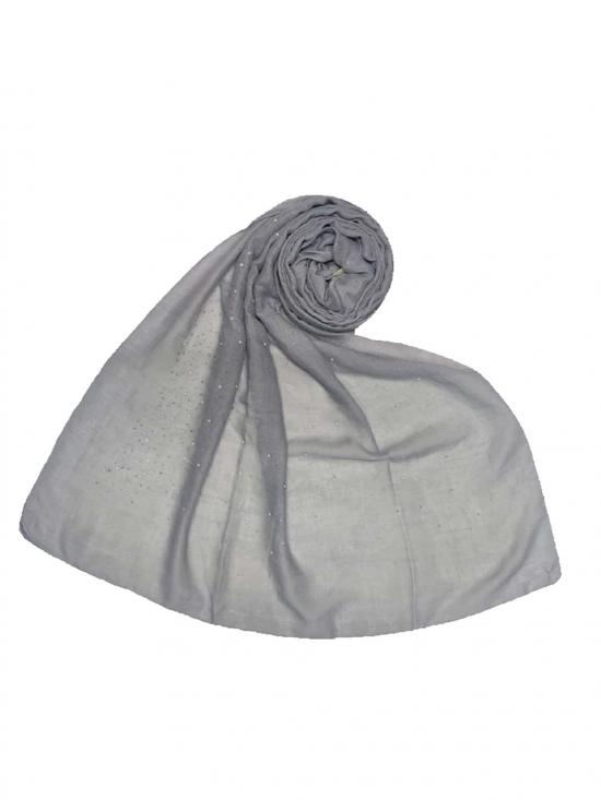 Stole For Women Cotton Dew Drop Diamond Studed Stole in Grey