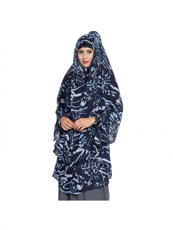 Khimar Georgette Ready To Wear Instant Hijabs In Blue & White