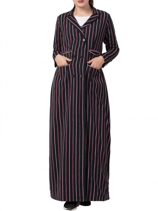 Heather Moss Long Full Length Coat with Stripes in Blue