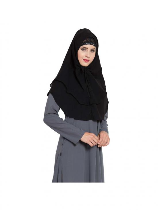 Khimar Nida Matte Ready To Wear Instant Hijabs In Black