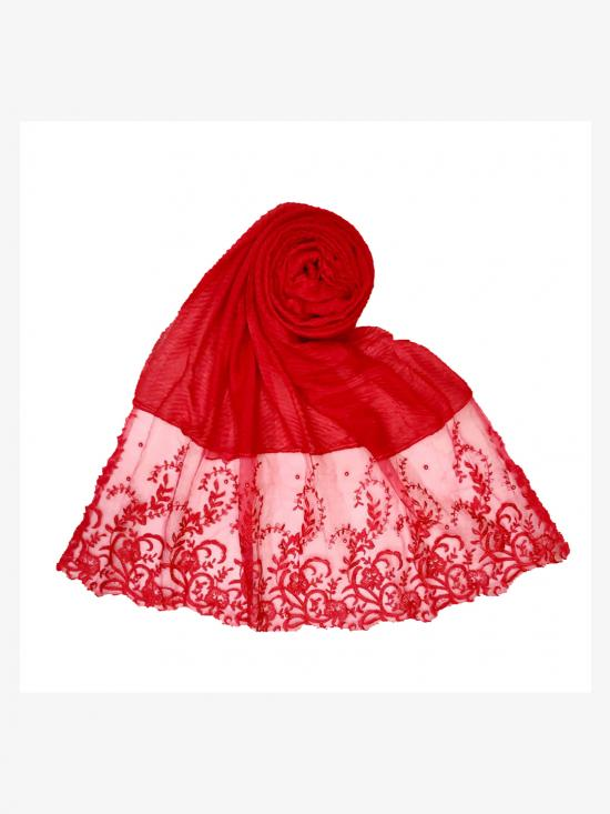 Stole For Women Premium Cotton Designer Stole with Flower Print in Red