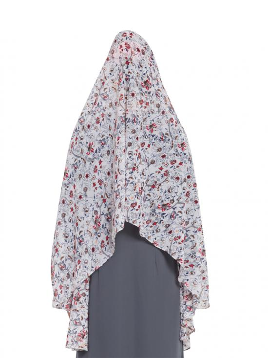 Khimar Georgette Ready To Wear Instant Hijabs In White & Multi