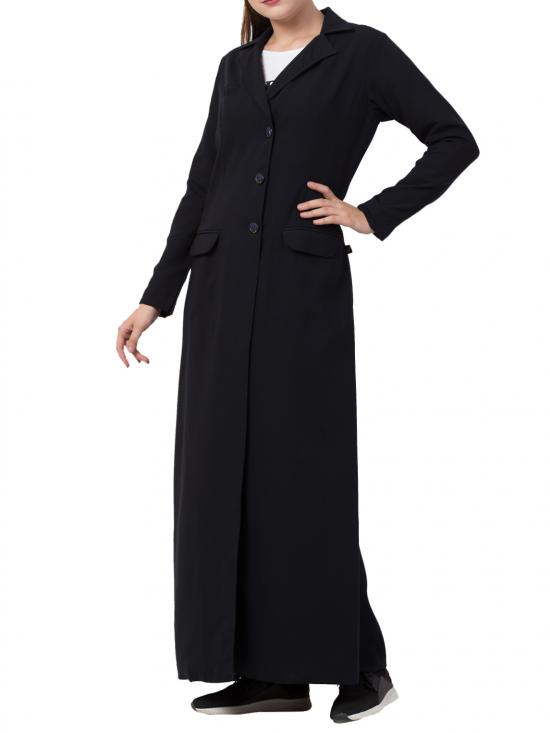 Poly Moss Full Length Coat in Black