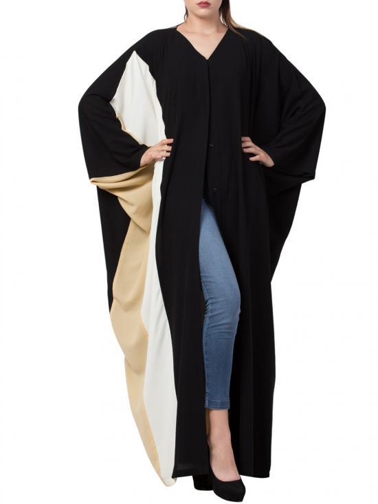 Nida Matte Front Open Designer Kaftan in Black and Multi Colour