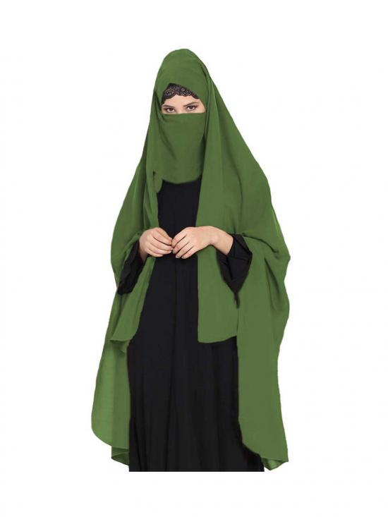 Nida Matte Irani Chadar Rida Hijab With Detachable Nose Piece In Jade Green