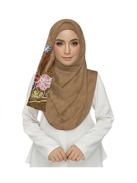 Premium Cotton Stole With Diamond Flower In Brown