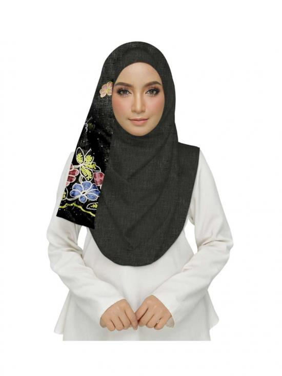 Premium Cotton Stole With Diamond Flower In Black