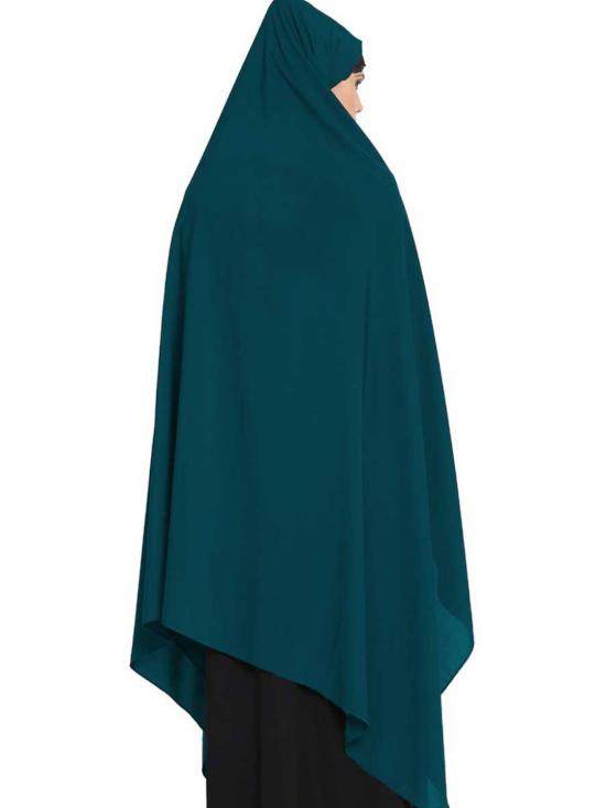Nida Matte Irani Chadar Rida Hijab With Detachable Nose Piece In Teal