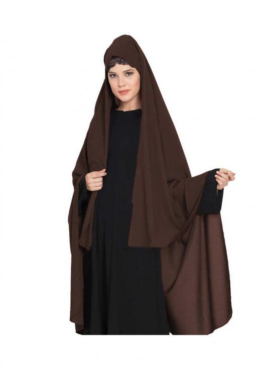 Nida Matte Irani Chadar -Rida Hijab with Detachable Nose Piece in Brown