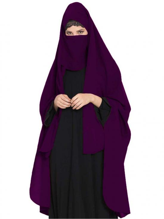 Nida Matte Irani Chadar Rida Hijab With Detachable Nose Piece In Purple