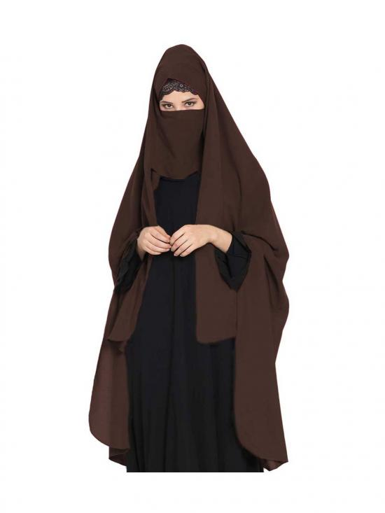 Nida Matte Irani Chadar -Rida Hijab With Detachable Nose Piece In Brown