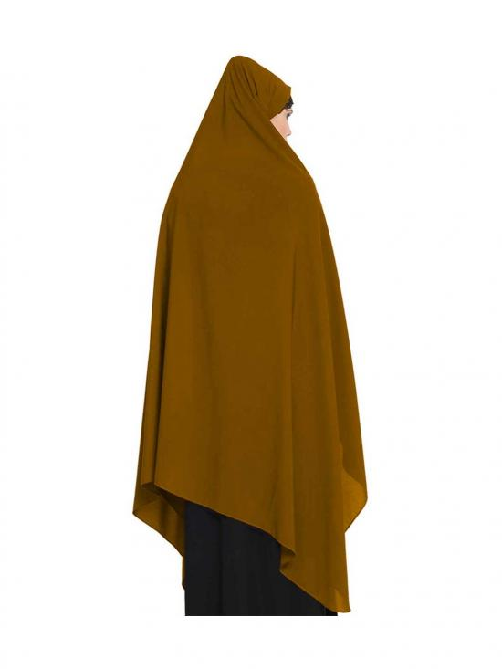 Nida Matte Irani Chadar Rida Hijab With Detachable Nose Piece In Golden Brown