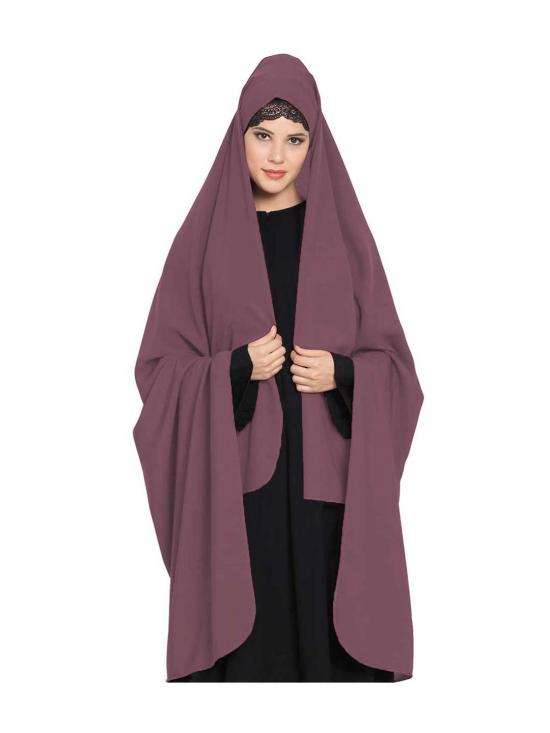 Nida Matte Irani Chadar Rida Hijab With Detachable Nose Piece In Puce Pink