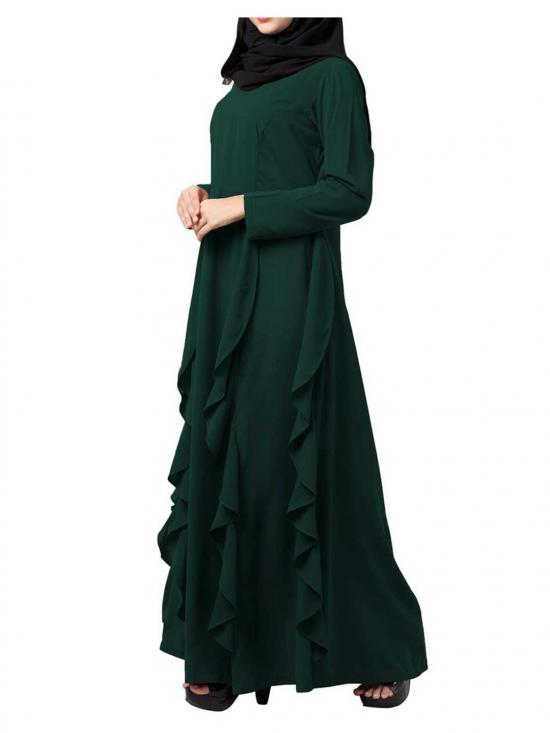 Nida Matte Stylish Abaya With Falling Panels In Bottle Green
