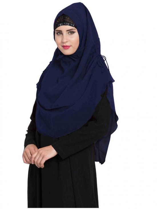 Nida Matte Khimar Stylish Instant Hijab With Dual Layer In Navy Blue