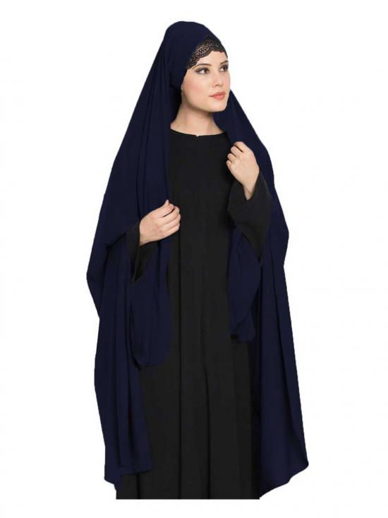Nida Matte Irani Chadar Rida Hijab With Detachable Nose Piece In Navy Blue