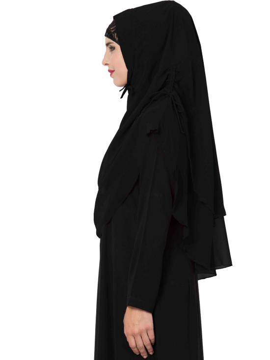 Nida Matte Khimar Stylish Instant Hijab with Dual Layer In Black