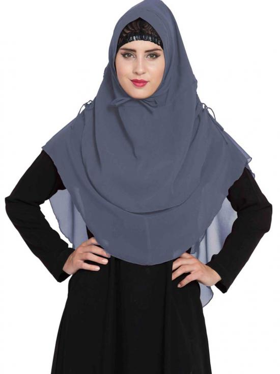 Nida Matte Khimar Stylish Instant Hijab With Dual Layer In Grey