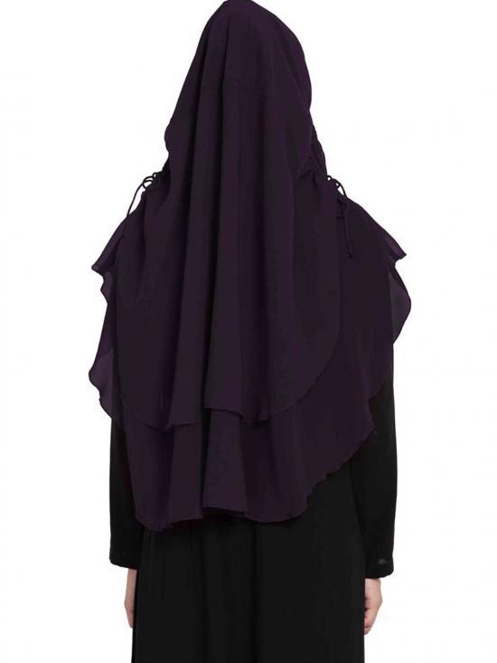 Nida Matte Khimar Stylish Instant Hijab with Dual Layer In Dark Purple