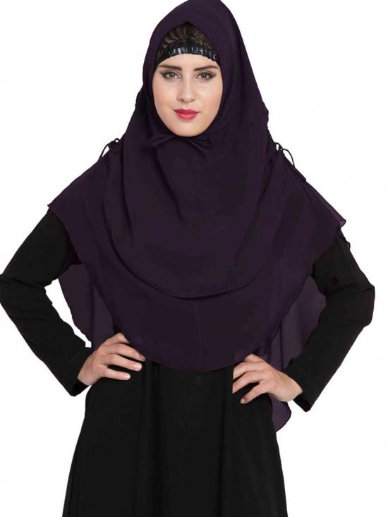 Nida Matte Khimar Stylish Instant Hijab With Dual Layer In Dark Purple