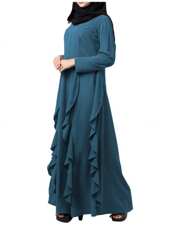 Nida Matte Stylish Abaya With Falling Panels In French Blue
